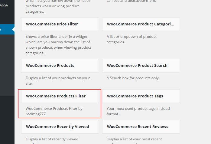 Woocommerce product filter documentation